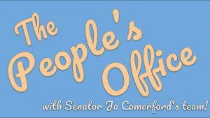 """Stylized curly letters read """"The People's Office with Senator Jo Comerford's team!"""""""
