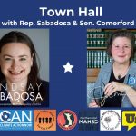 Town Hall announcement with photos of Jo and Rep Sabadosa
