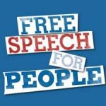 """""""Free Speech for People"""" text in red, white, and blue"""