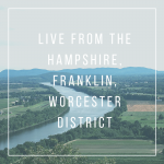 "Text reading ""Live from the Hampshire, Franklin, Worcester district"" over an image of the Connecticut River, farms, and hills"