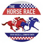 """Graphic titled """"The Horse Race,"""" above stylized red and blue racing horses"""
