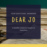 "Text reading ""Dear Jo"" over a background of a stack of letters"