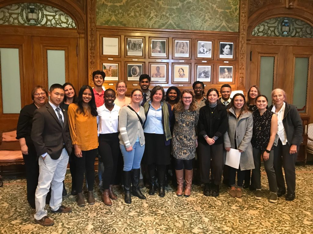UMass Amherst Civic Engagement and Service-Learning students and faculty with Senator Jo Comerford in Senate President Karen Spilka's office